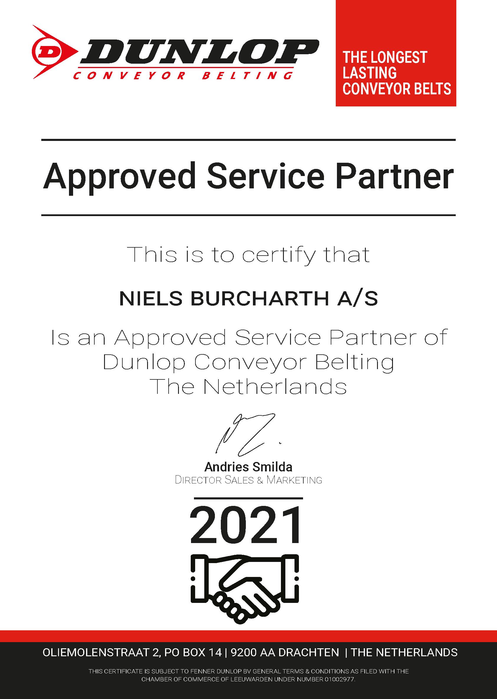 Cerifikat for Approved Service Partner hos DUNLOP Conveyor Belting